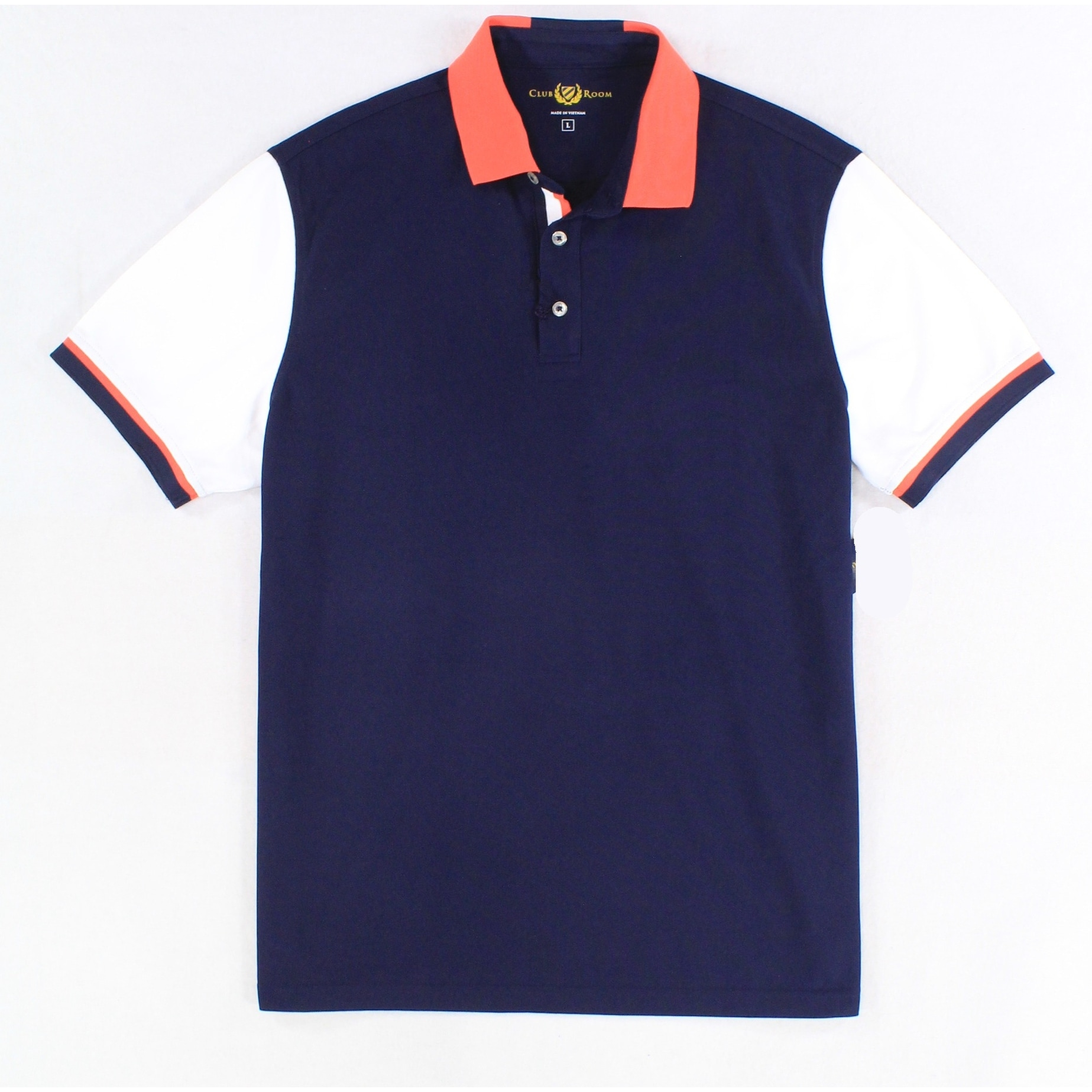 Club Room Blue Short-Sleeve Colorblocked Polo Shirt L
