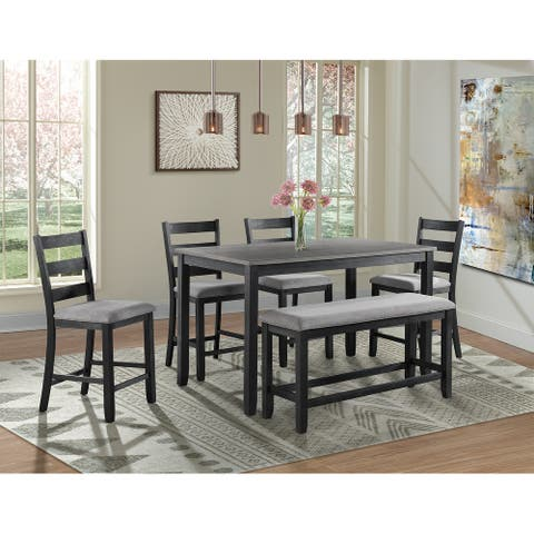 Picket House Furnishings Kona Counter Height 6PC Dining Set-Table, Four Chairs & Bench