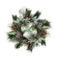 """24"""" Frosted Two-Tone Cedar and Long Needle Pine Berry Artificial Christmas Wreath - Unlit"""