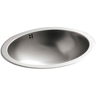 "Kohler K-2609-SU Bachata 17-1/8"" Luster Stainless Steel Drop-in / Undermount Bathroom Sink With Overflow"