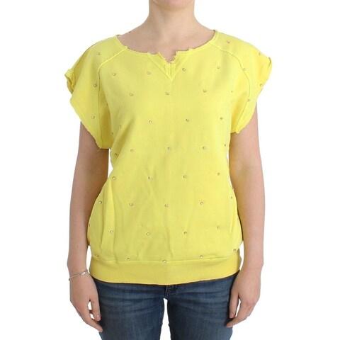 Balmain Balmain Yellow embellished cotton sweatshirt