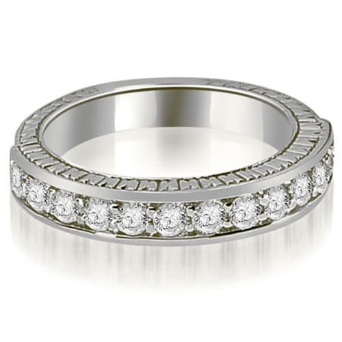 0.60 cttw. 14K White Gold Antique Round Cut Diamond Wedding Band