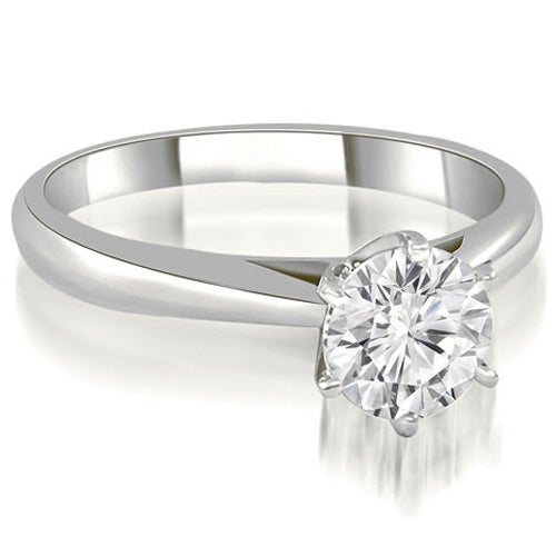 1.00 cttw. 14K White Gold Cathedral 6-Prong Round Cut Diamond Engagement Ring