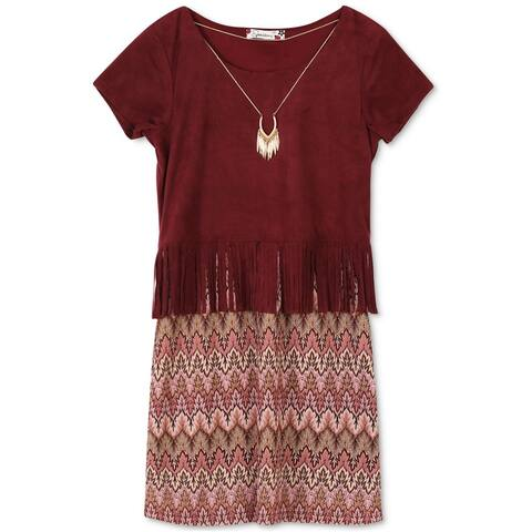 Speechless Girls Faux-Suede Knit A-line Dress, red, M (12) - M (12)