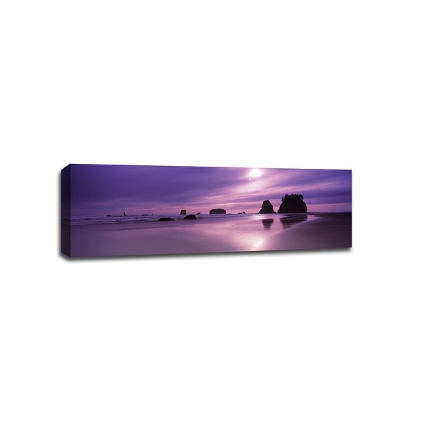 Seastacks with Purple Sunset Olympic Park - Sunsets - 36x12 Canvas