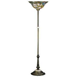 Meyda Tiffany 31122 Stained Glass / Tiffany Torchiere Lamp from the Tiffany Rosebush Collection