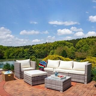 Boa Vista Wicker Rattan 6-Piece Sofa Patio Furniture Set with Beige Cushions