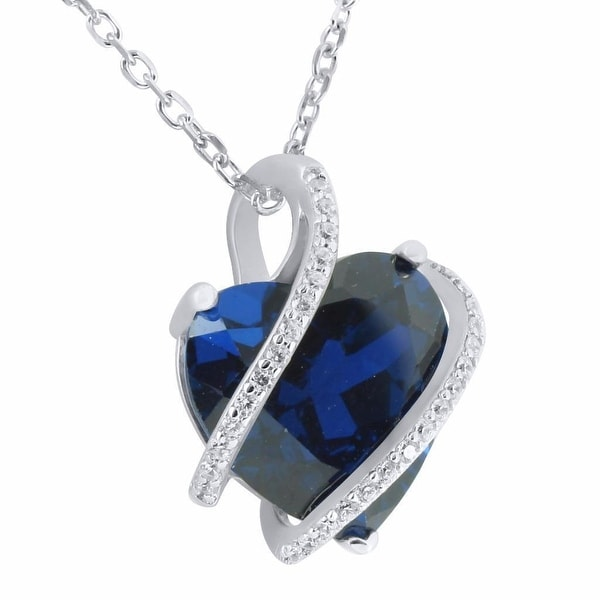 Ladies Sterling Silver Solitaire Heart Pendant Blue Ruby CZ Charm Free Necklace