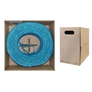 Offex Bulk Cat5e Blue Ethernet Cable, Stranded, UTP (Unshielded Twisted Pair), Pullbox, 1000 foot