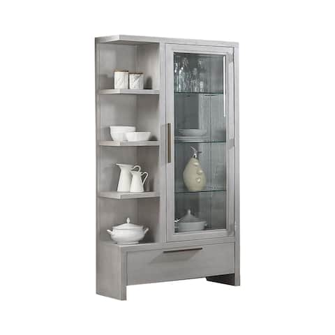 3 Glass Shelf Wooden Curio with 1 Large Drawer, Gray