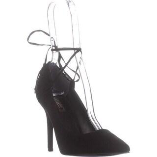 GUESS Binum Pointed Toe Ankle Wrap Classic Pumps, Black Suede