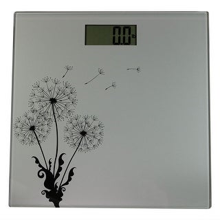 Sunnydaze Precision Digital Glass Bathroom Scale with Step-On Technology and Large LCD Display, Silver Dandelion Design