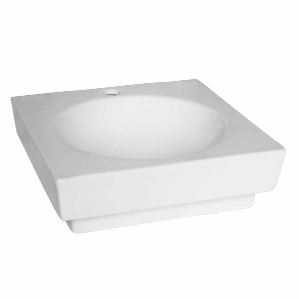 Bathroom Vessel Sink Square White China Faucet Overflow Hole| Renovator's Supply