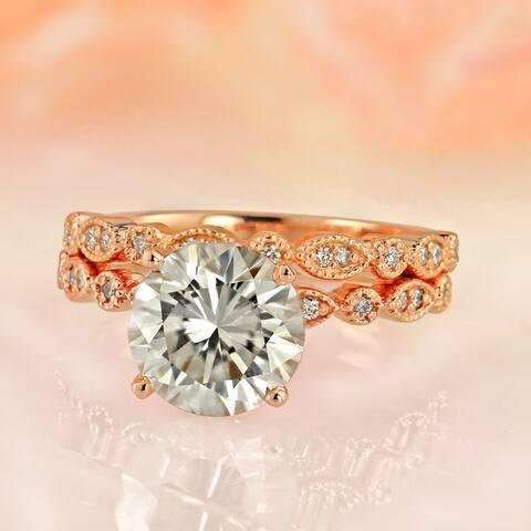 Auriya 2 carat TW Vintage Moissanite and Diamond Engagement Ring Set 14k Gold