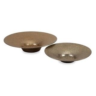 Set of 2 Doni Textured Bronze Tone Metallic Ceramic Decorative Chargers