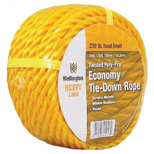 Wellington 15013 Twisted Poly-Pro Economy Tie Down Rope, 3/8 x 50, Yellow