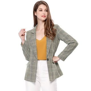 Allegra K Women's Boyfriend Notched Lapel Houndstooth Blazer Jacket - Black