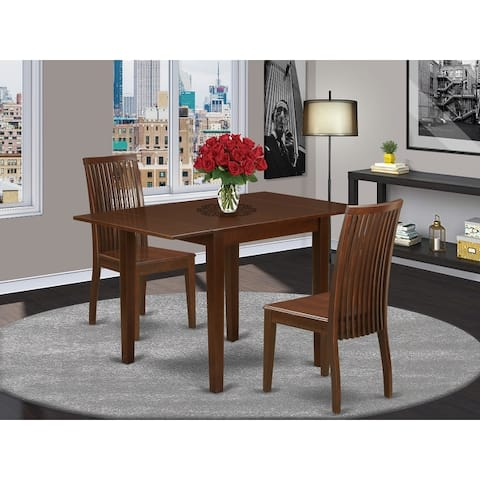 2 Drops Leaves Dining Table and Dinette Chairs with Rubberwood Seat and Slat Back in Mahogany Finish (Pieces Option)
