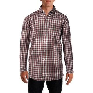 Stetson Mens Cotton Checkered Button-Down Shirt - XL