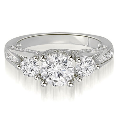 1.74 cttw. 14K White Gold Three-Stone Lucida Round Cut Diamond Engagement Ring