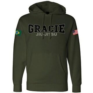 Gracie Jiu-Jitsu Retro Gracie Flag Pullover Hoodie - Army Green