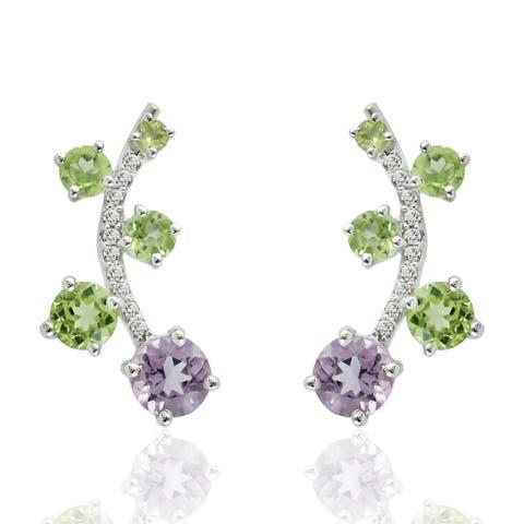 Natural Amethyst Ear Climber Earrings 925 Sterling Silver Peridot Jewelry