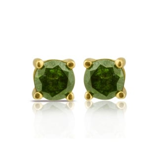 Fabulous Round Brilliant Cut Real Green Color Diamond Screw Back Stud Earring