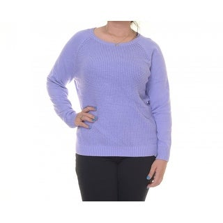 Karen Scott Textured Side Button Long Sleeve Sweater - l