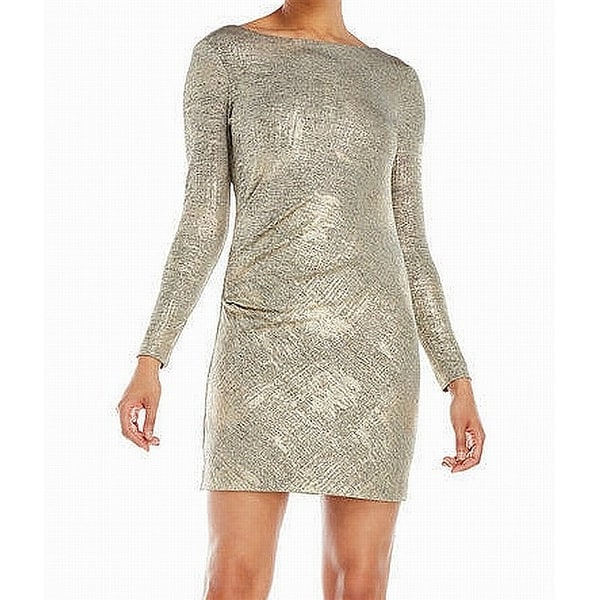 Vince Camuto Gold Womens Size 10 Shimmer Draped-Back Sheath Dress