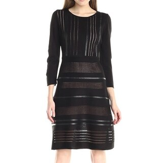 Calvin Klein NEW Black Women Size S Faux Leather Trim Sweater Dress