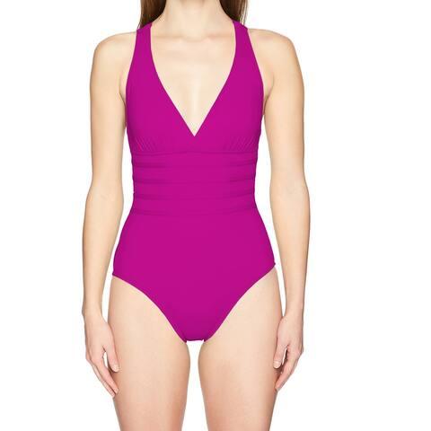 La Blanca Purple Womens Size 14 Strappy V-Neck One-Piece Swimwear