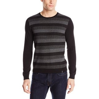 Calvin Klein CK Ribbed Striped Crewneck Sweater Black and Gray Combo