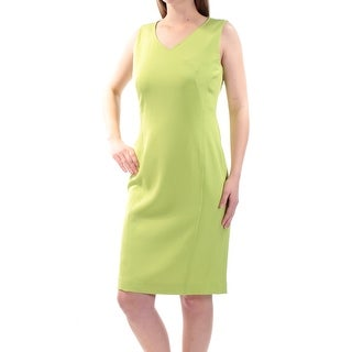 KASPER $89 Womens New 1131 Green V Neck Sleeveless Sheath Dress 6 B+B