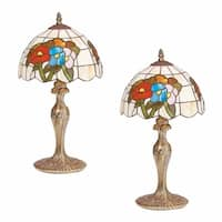 2 Table Lamp Antique Brass  Style Stained Glass 19H
