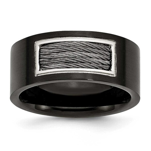 Stainless Steel IP Black Plated with Wire Inlay Ring (10 mm)