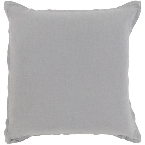 "18"" Gray Woven Indoor Square Decorative Throw Pillow with Coordinating Trim"