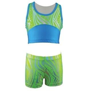 Reflectionz Girls Lime Zebra Dot Pattern Tank Top Shorts 2 Pc Set 8-10