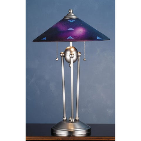 Meyda Tiffany 82485 Table Lamp from the Metro Table Lamp Collection - purple/clear dicro triangles - n/a