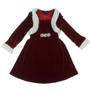 Amy Byer Girls Snow Adorable Velvet Special Occasion Dress - 6