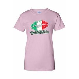 Women's Juniors T-Shirt Funny Kiss Me I'm Italian Italy Pride Jersey Shores