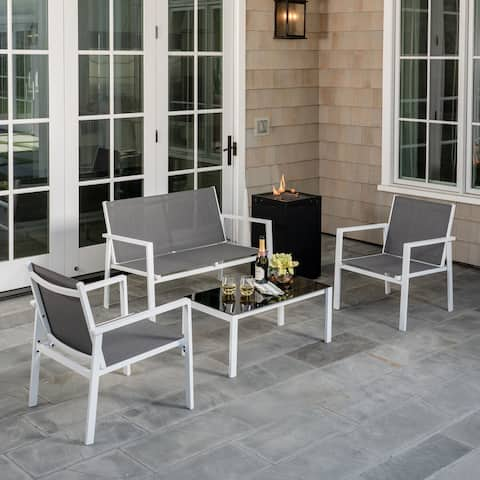 Hanover Naples 5-Piece Fire Pit Patio Set featuring a 40,000 BTU Fire Pit Table with Burner Cover, White Frame / Gray Sling