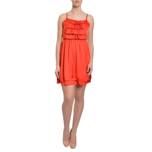 Free Generation Red Satin Ruffle Spaghetti Strap Evening Party Dress - l
