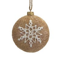 3.25 in. Silent Luxury Brown Burlap Christmas Ornament with