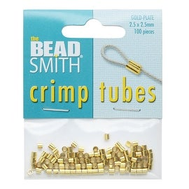 BeadSmith Crimp Tubes, 2.5x2.5mm, 100 Pieces, Gold Plated