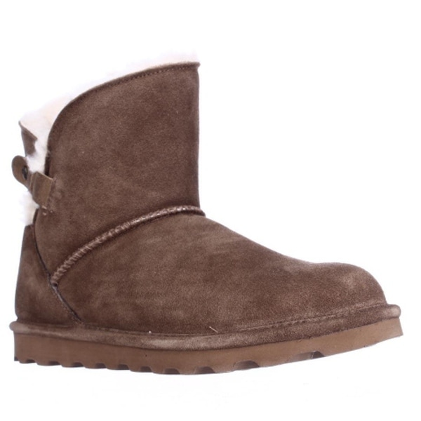 Bearpaw Margaery Short Shearling Lined Winter Booties, Hickory