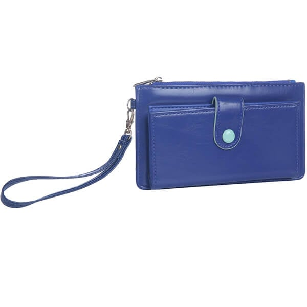 Mad Style Navy Button-Down Wristlet Wallet
