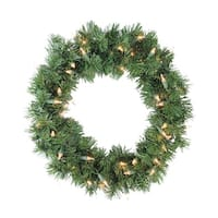 "18"" Pre-Lit Deluxe Windsor Pine Artificial Christmas Wreath - Clear Lights"
