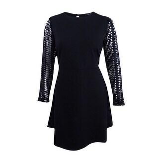 Soprano Women's Trendy Plus Size Lace-Sleeve Fit & Flare Dress (3X, Black) - Black - 3x