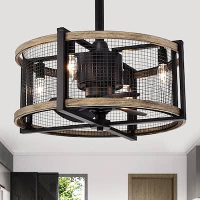 Blane Black/Wood Grain Metal 4-Light Ceiling Fan Chandelier w/ Remote