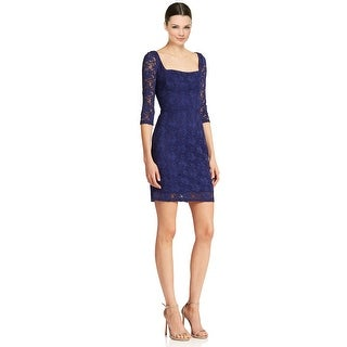 A.B.S. by Allen Schwartz Square Neck 3/4 Sleeve Sheath Cocktail Dress - L